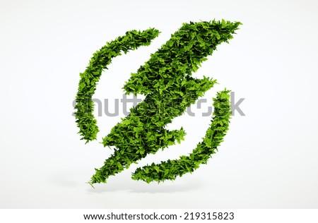 Isolated 3d render ecology flash symbol image with white background - stock photo