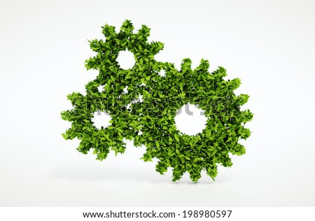 Isolated 3d render natural leaf cogwheel symbol with white background - stock photo