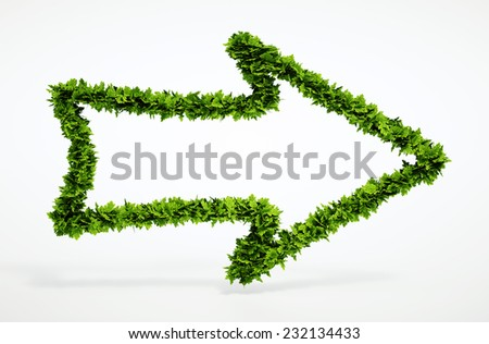 Isolated 3d render natural right arrow icon with white background. Blank text field for your own text. - stock photo