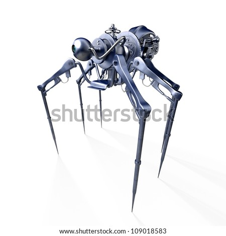 Isolated 3d render of steam punk spider / Robot - spider - spy - stock photo