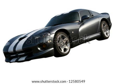 isolated dark grey american dodge viper on white background - stock photo