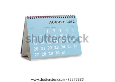 Isolated desktop calendar showing the month of August 2012 - stock photo