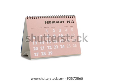 Isolated desktop calendar showing the month of February 2012 - stock photo