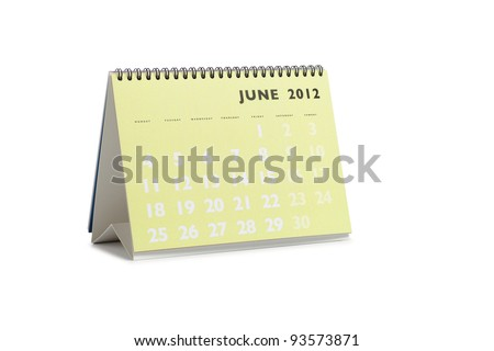 Isolated desktop calendar showing the month of June 2012 - stock photo