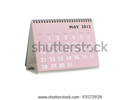 Isolated desktop calendar showing the month of May 2012 - stock photo
