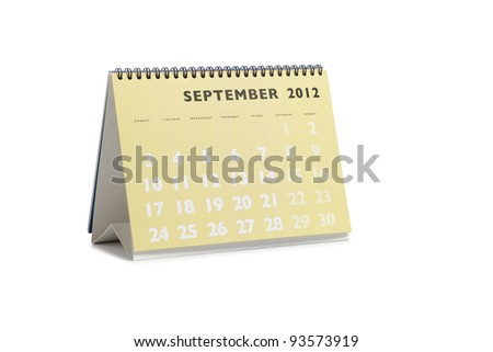 Isolated desktop calendar showing the month of September 2012 - stock photo
