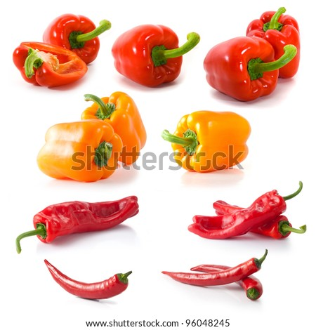 isolated different kinds of peppers on white background - stock photo