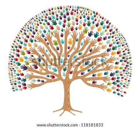 Isolated diversity tree hands illustration for greeting card. - stock photo