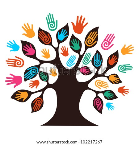 Isolated diversity tree hands illustration. Vector file layered for easy manipulation and custom coloring. - stock photo