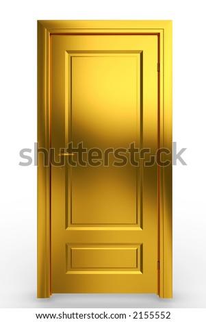 Isolated door - gold - stock photo