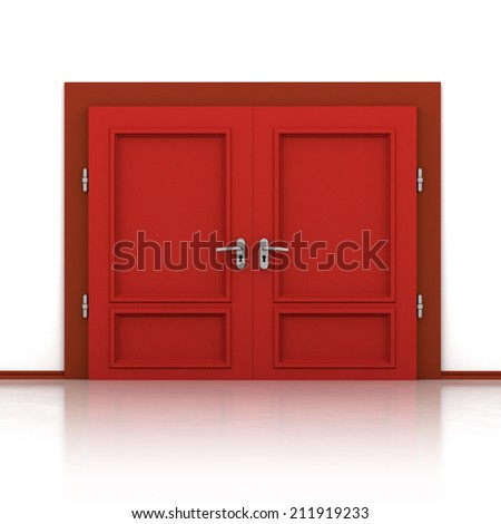 isolated double red closed door detail 3D illustration - stock photo