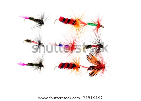 Isolated dry fishing flies - stock photo