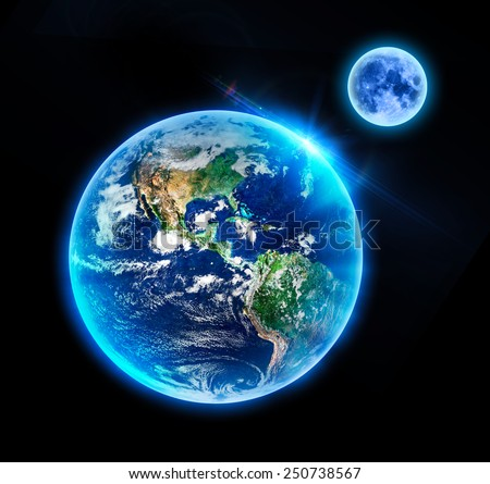 Isolated Earth & Moon - Elements of this Image Furnished by NASA - stock photo