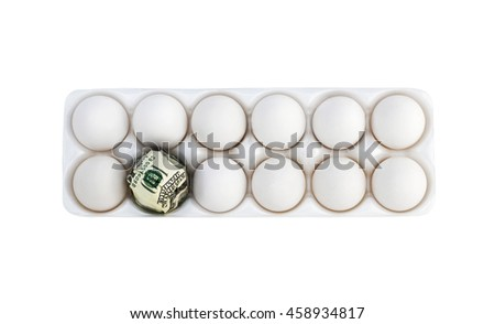 Isolated eggs with one egg wrapped with a hundred dollar bill. - stock photo