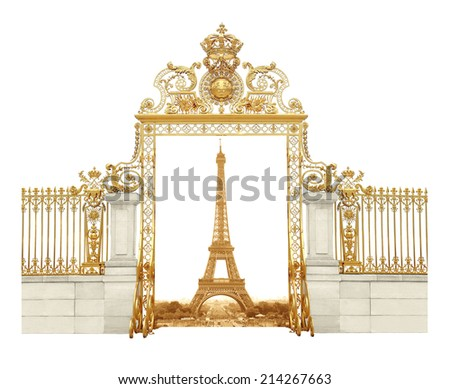 Isolated Eiffel Tower in Paris, France - stock photo