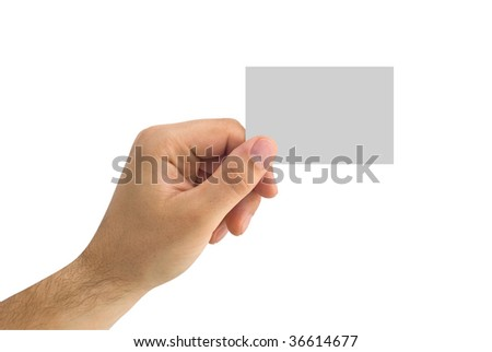 isolated empty business card in a human hand - stock photo
