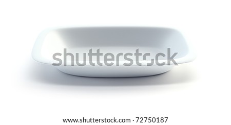 isolated empty ceramic plate, 3d render - stock photo