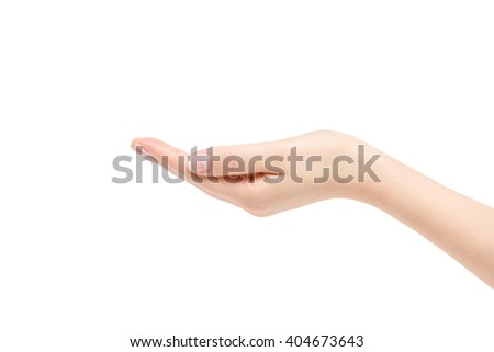 Isolated empty female hand on white background. - stock photo