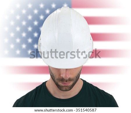 Isolated engineer with flag on background - USA - stock photo