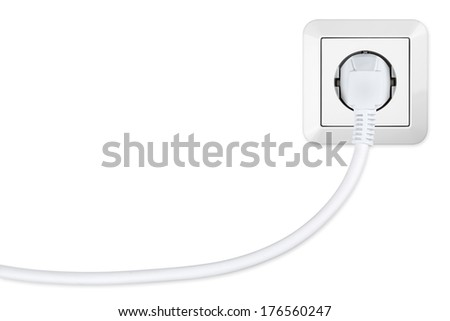isolated european power socket with plug - stock photo