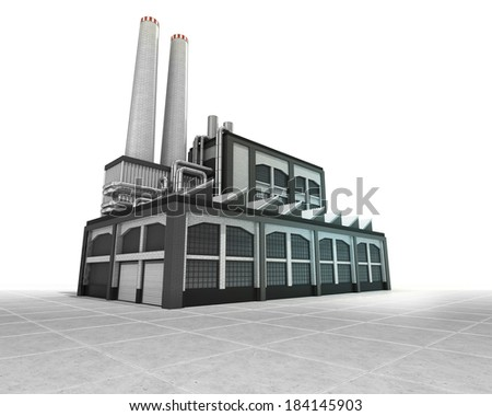 isolated factory as industrial production engine illustration - stock photo