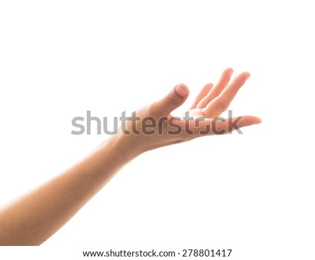 Isolated female empty open human hand with palm raised upward in reaching posture : Pray for support and help concept - stock photo