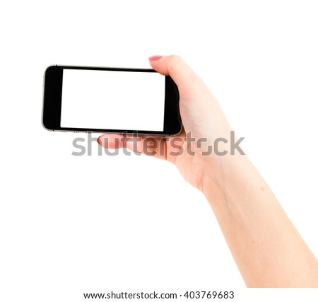 Isolated female hand holding a phone with white screen - stock photo