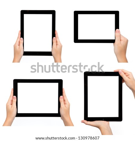 Isolated female hand holding tablet computer in different ways - stock photo