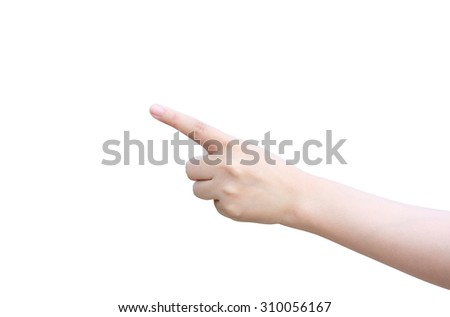 isolated female hand touching or pointing to something - stock photo