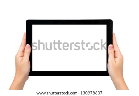 isolated female hands hold longer banner computer tablet or frame - stock photo