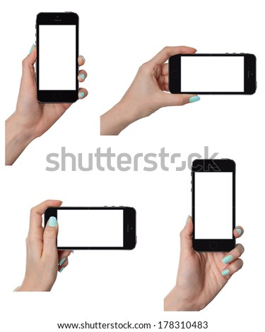 Isolated female hands holding the smart phone similar to iphone in different ways - stock photo