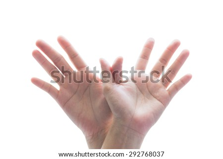 Isolated female human hands in form of soaring bird flying high on white background: Universal hand sign and symbolic language meaning spiritual hope, freedom, liberty, peace  - stock photo