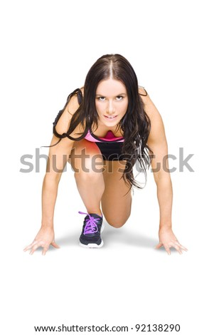 Isolated Female Marathon Runner Crouching Down At Starting Blocks During A Track And Field Running Race Etched On A White Background With Room For Copy Space - stock photo