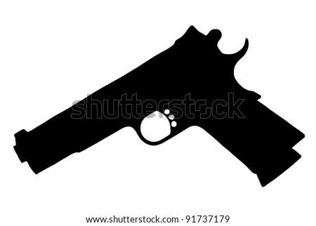 Isolated Firearm -Pistol (9 mm) - black on white silhouette - stock photo