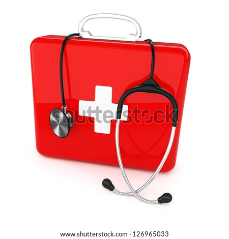 Isolated first aid kit and stethoscope on white background - stock photo