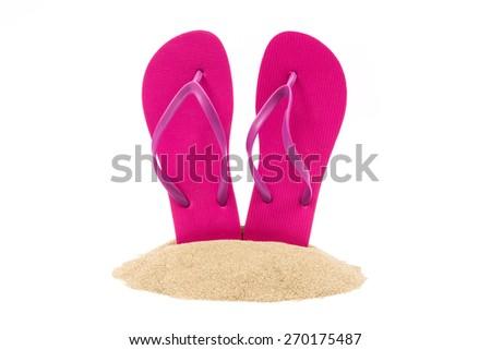 Isolated flip flops on white background - stock photo