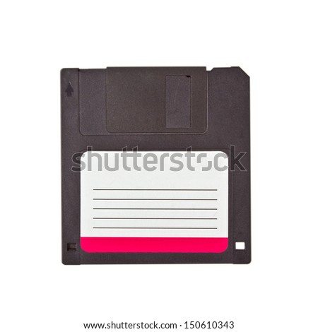 Isolated Floppy Disc (with clipping patch). High quality stock photo. - stock photo