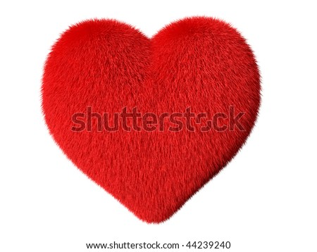 isolated fluffy heart on white background - stock photo