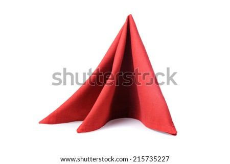 isolated folded red napkin over white background - stock photo