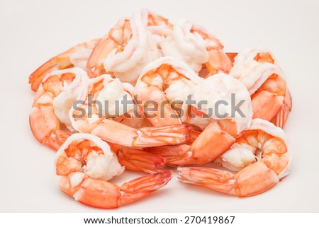 Isolated fresh and sweet boiled or steamed big shrimp or prawn on white background - stock photo