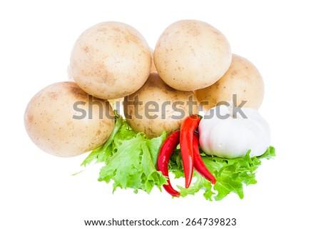 isolated fresh garlic and raw potato on white background - stock photo