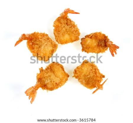 Isolated fried shrimp - stock photo