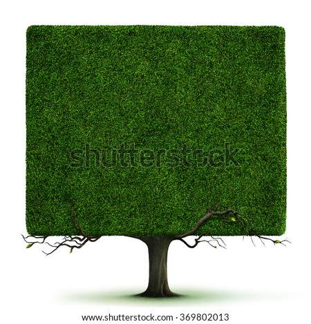 Isolated from background square tree with branches - stock photo