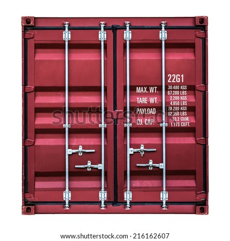 Isolated front side of a container box on white - stock photo
