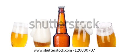 isolated Frosty beer set with kings bottle on a white background - stock photo