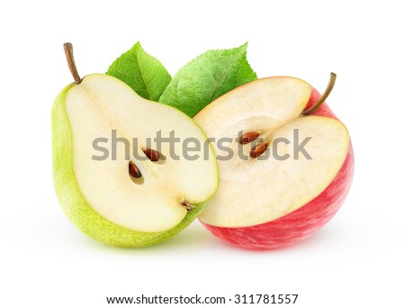 Isolated fruits. Halves of red apple and yellow pear isolated on white background, with clipping path - stock photo