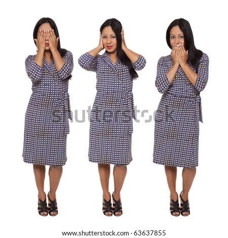 Isolated full length studio shot of a Latina woman in the See No Evil, Hear No Evil, Speak No Evil poses. - stock photo