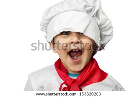 Isolated funny child dressed as a cook - stock photo