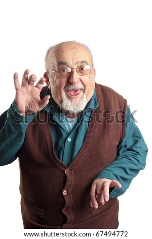isolated funny old man - stock photo