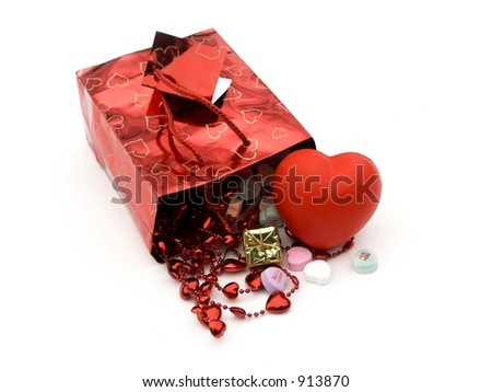 isolated gift bag and presents  and hearts,shallow dof - stock photo